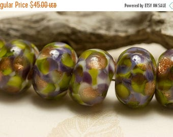 ON SALE 30% off Seven Wisteria Garden Rondelle Beads - Handmade Glass Lampwork Bead Set 10603401