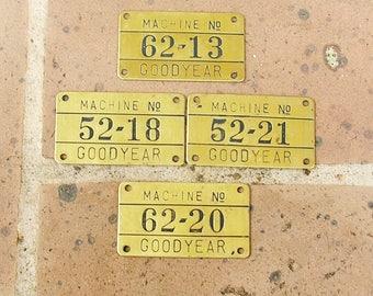Vintage Brass Numbered Tag Vintage Goodyear Tag Vintage Brass Goodyear Tag DIY Jewelry Tag Steampunk Tag