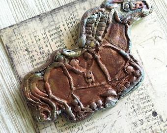 9. Anglo Saxon Inspired Raku Horse Medallion Wondrousstrange  Raku Cabochon Cosplay Middle Ages