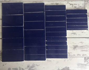 Cobalt Blue Ceramic Tile Salvage Remnants - Flat Rate Box - 28 Pieces