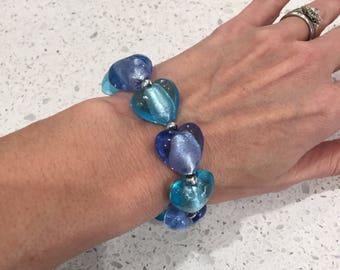 Blue Heart Bracelet, Murano Glass Beaded Bracelet, Glass Hearts bracelet, handmade murano italy glass beads, chunky heart beads, blue hearts