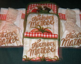 Kitchen set 2 towels 1 dish cloth, 2 potholders, Farmer's Market beige top