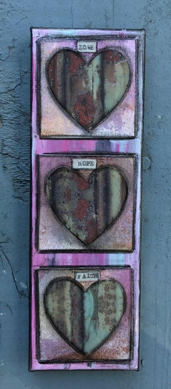 Original Mixed Media Art Small Canvas Love Hope Faith