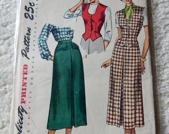 Original Simplicity Pattern #2720 - Misses Skirt and Weskit - Circa 1950's