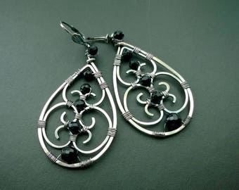 Camelot wire wrapped earrings - sterling silver and black onyx