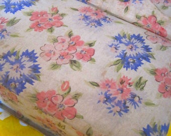Fabric Covered Box, Boudoir Box, French Vintage Box, Sewing Box, 1940s Box, Sewing Box, Work Box, Shabby Chic Box, Trinkets, Faded Florals