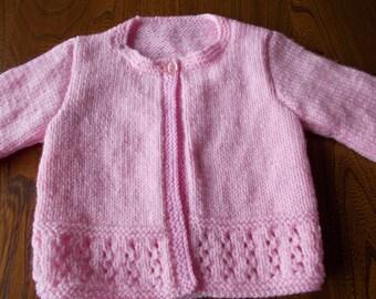 pink baby jacket, Baby girl cardigan, Baby girl  pink jacket Hand knitted pink baby girl cardigan