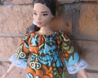 Handmade Curvy Barbie Peasant Style Dress Trimmed in Lace, made from an Amy Butler fabric called Belle