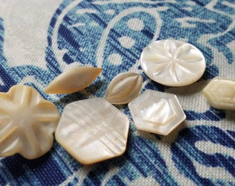Vintage Buttons - 7 matching mother of pearl,i carved  designs shank backs (July 304 17)
