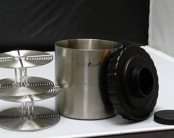 Used Stainless Steel Film Developing Tank with Two 35mm Reels and Cap