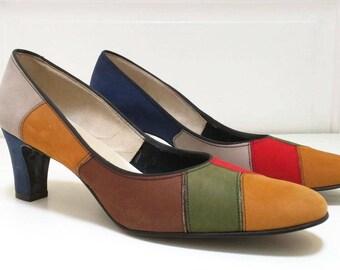 Vintage 60s Nordstroms Best  Suede Colorblock Heels Pumps 8 AAAA Narrow