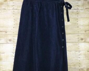 ON SALE Vintage Navy Blue Velvet Midi Skirt Misses M L 70s