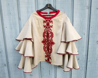 XL 1X Embroidered Linen Tiered Bell Sleeve Top// Ruffles// Ethnic Bohemian Gypsy// OOAK// Beige Red// emmevielle