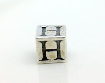 Sterling Silver Alphabet H Block Cube Square Bead 5.5mm Large Hole
