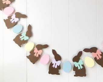 Chocolate Rabbit Pastel Garland - Easter Decor - Easter Prop - Babys first Easter
