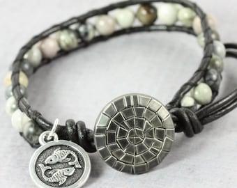 Zodiac Charm Bracelet, Pisces Jewelry, March Birthday Gift, Pisces Star Sign, Picasso Jasper, Jasper Wrap Bracelet, Black Leather Jewelry