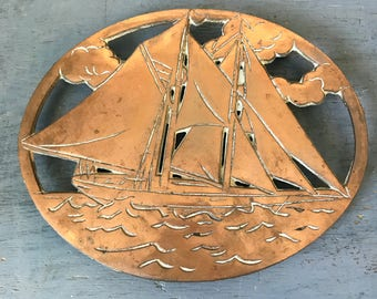 vintage copper trivet - sailboat hot plate - nautical kitchen - beach house table wall decor