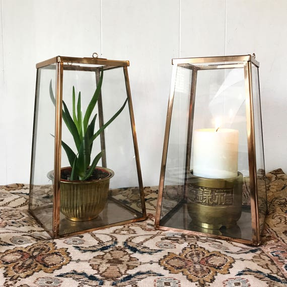 candle lantern - copper and glass candle holder - tall display case - large trapezoid terrarium planter