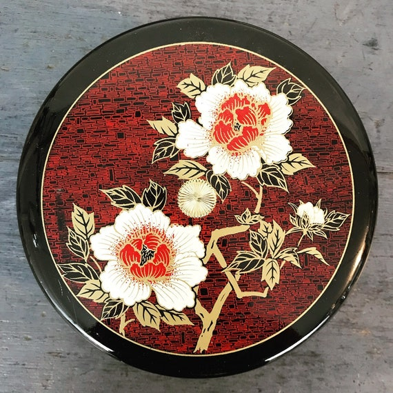 vintage Japanese trinket box - Toyo lacquerware bowl - Asian floral chinoiserie - black red gold