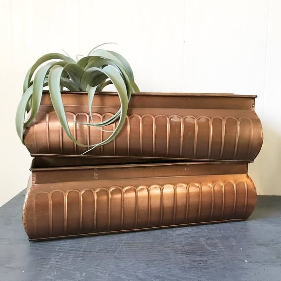 copper planter - garden plant pot - window box - French Country - farmhouse decor