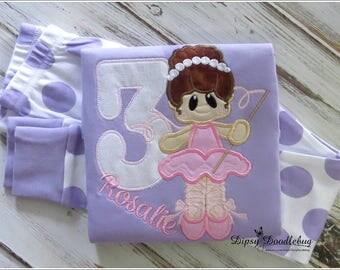Ballerina Birthday Pajamas - Ballerina Party - Ballerina Pajamas - Birthday Pajamas - Girls Birthday - Girls Birthday Pajamas
