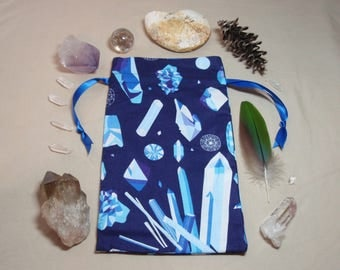 Blue Crystals - Lined Drawstring Tarot Card Deck Pouch