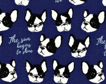 French Bulldog Boston Terrier Royal Blue Indigo - Cotton/Linen CANVAS - Kokka Japanese Imported Fabric - KOKPA-47500-501-E Per Half Yard