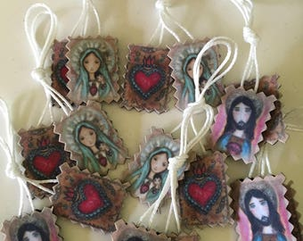 Sacred Hearts of Mary and Jesus Scapulars - Set of 8 -  Handmade - Original Art by FLOR LARIOS