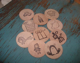 Wooden storytelling game Into the Woods fairytale wooden tokens montessori