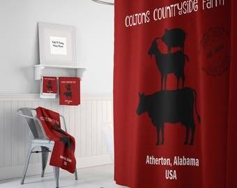 Personalized Farm Shower Curtain Farmhouse Chic Vintage Red , Bath Mat, Bath Towels