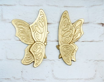 Pair Vintage 70s Gold Butterflies Hanging Wall Art Metallic 1973 Bohemian Homco Style
