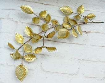 Vintage Gold Brass Copper Leafy Branch Wall Hanging Art Table Centerpiece Mid Century Home Decor Wreath