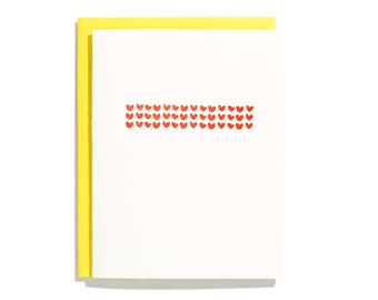 Hearts - Letterpress Love Card - CL131