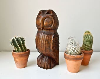 Carved Wood Owl, Owl Sculpture, Hand Carved Owl, Wood Bird, Rustic Bird Sculpture,  Primitive Wood Sculpture