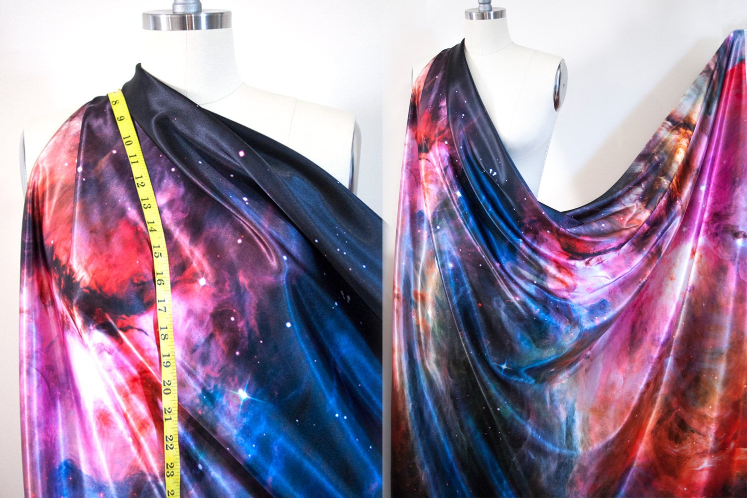Satin galaxy fabric 56 wide sold bty orion nebula space for Galaxy fabric canada