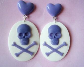 Earrings - skulls - purple and white cameo