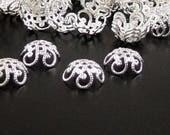 Silver Bead Cap 100 Flower Filigree Shiny Bright Victorian Bendable Fancy 11mm (1050cap11s1)