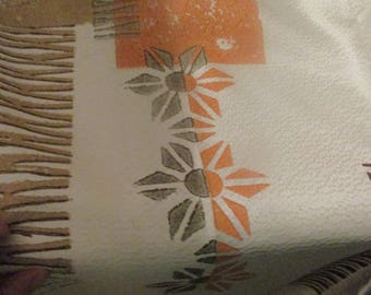 Pair of VINTAGE Pinch Pleated DRAPES, Curtains in White with Orange,Tan,and Gray Design, 50s Curtains