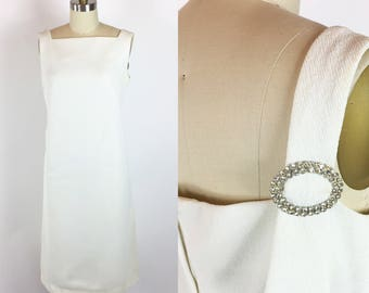 Womens New Vintage 1960s White Rhinestone Cocktail Party Dress