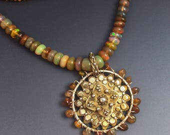Opal Beaded Necklace with Antique Gold Pendant