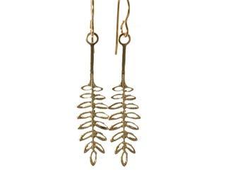 Solid Brass Fern Earrings, Brass Leaf Dangle Earrings for Women, Gold Fern Earrings