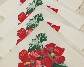 Vintage Tropical Cloth Napkins