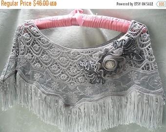 36% OFF Closet Cleaning CAPELETE Crocheted Romantic Whimsical Boho Shawl Fringe Embellished - Gray with Gray fringe