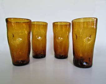 Blenko Pinched Glass Tumblers in Deep Rich-Rugged Amber-Brown, Set of 4 6inch Tumblers, Mid Century American Studio Art Glass