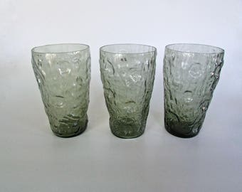 Herman Rosenzweig Thumbprint Crinkle Decatur Tex Glass in Moss Green