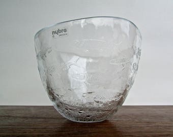 Paul Isling Designed Vintage Nybro Glass Salmon Bowl, Made in Sweden, Scandinavian Glass, Laxfat Glas Handmade Swedish Crystal
