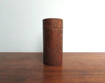 White-Oak Salt Shaker, Stained White-Oak Hand-Turned Cross-Grain, Rough-Hewn Salt Pillar w/ Screw Top