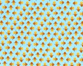 Five (5) Yards - Suzy Mini's Bee Fabric by Robert Kaufman Fabrics ASD-16325-63 Sky Blue