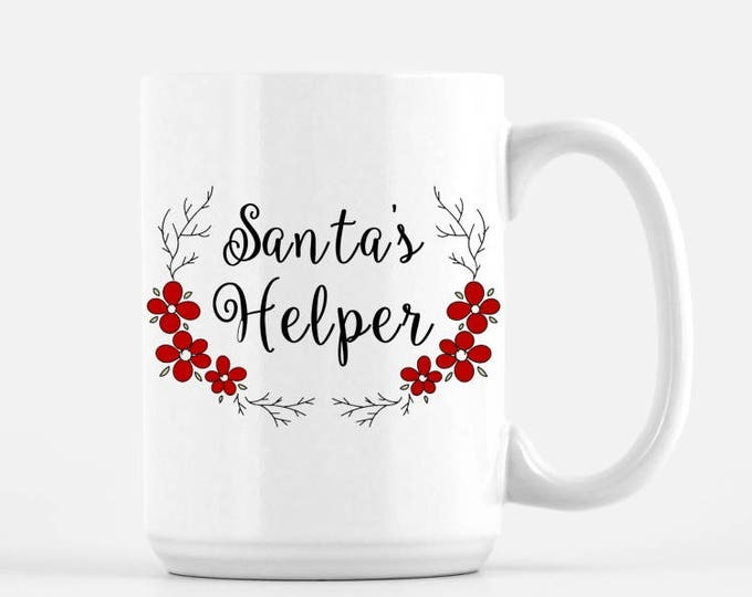 Santa's Helper White Ceramic Mug, 15 oz, Christmas Gift Mug