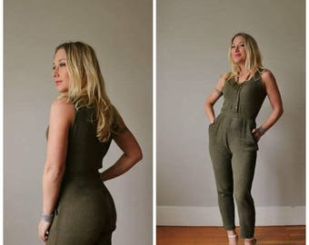 ON SALE 1990s Olive Rabbit Jumpsuit /// Size Extra Small